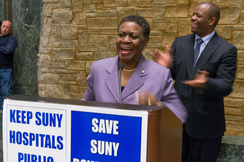 """Assembly Member Annette Robinson led people in singing """"ain't gonna let nobody turn me 'round..."""" to the great delight of all."""