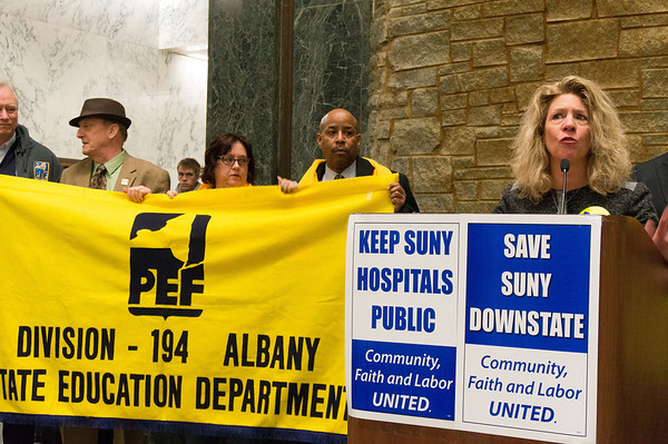 Susan Kent, President of Professional Employees Federation (PEF) strongly defended the idea of public health care.