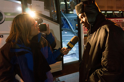 News Channel 12 interviews a rider right before our buses take off for Albany.
