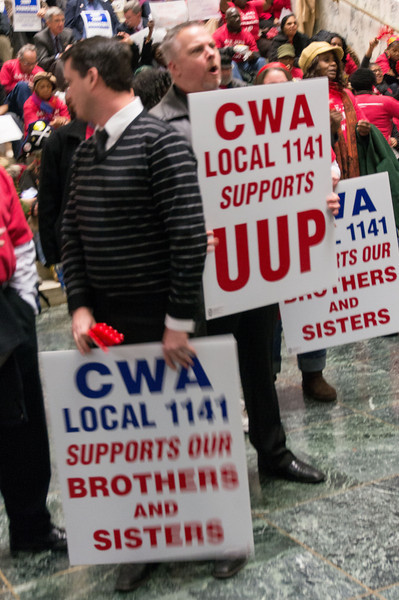 Other unions showed up in solidarity even though they're not affected by the layoffs at Downstate. Beautiful!