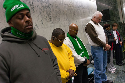 The rally was led by a coalition of clergy, unions and community groups. The event was opened with a prayer.