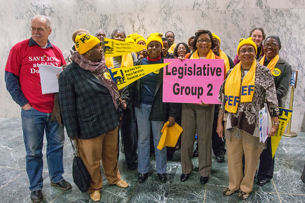 Inside the Capitol, we split into lobbying groups and visit Senators and Assembly Members. Our message: Health care is a human right. We demand you fund health care, stop the layoffs and cuts at SUNY Downstate!