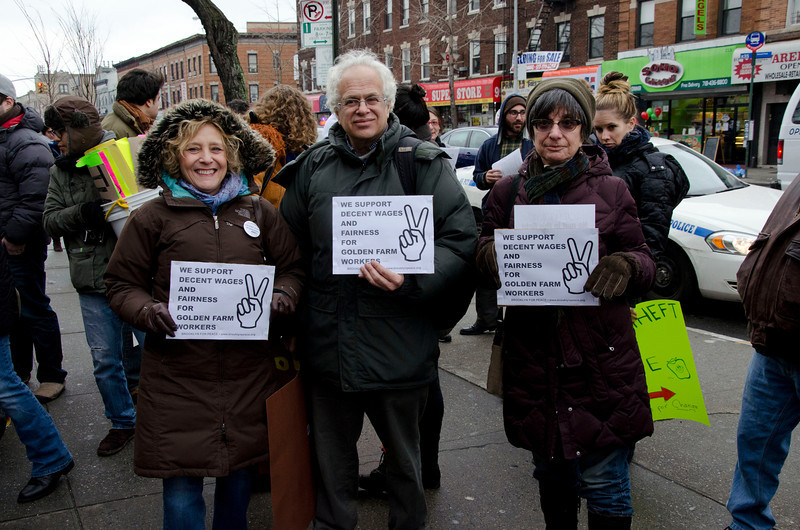 Brooklyn For Peace members brought their own signs and marched along with others to support the Golden Farm workers.