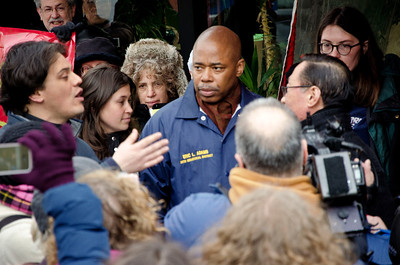 The manager of Golden Farm (right, with glasses)  emerged with NYCC leaders and State Senator Eric Adams (blue jacket) to discuss the issues.