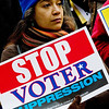 A UFT (teachers union) members demands an end to attacks on voters' rights.