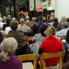 A large crowd filled the main room at Brooklyn's Ethical Culture in Park Slope.
