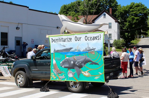 16.06.18 12 Maine peace activists arrested outside USS Michael Monsoor destroyer christening at GD/BIW in Bath