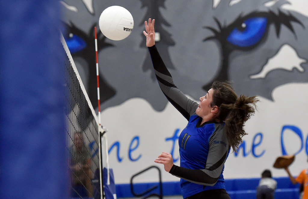 . Peak to Peak\'s Jordyn Hall goes for a kill during a volleyball match against Prospect Ridge Academy on Tuesday in lafayette. More photos: www.BoCoPreps.com Jeremy Papasso/ Staff Photographer/ Sept. 12, 2017