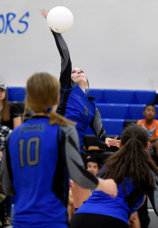 . Peak to Peak\'s Mary Fanger goes for a kill during a volleyball match against Prospect Ridge Academy on Tuesday in lafayette. More photos: www.BoCoPreps.com Jeremy Papasso/ Staff Photographer/ Sept. 12, 2017