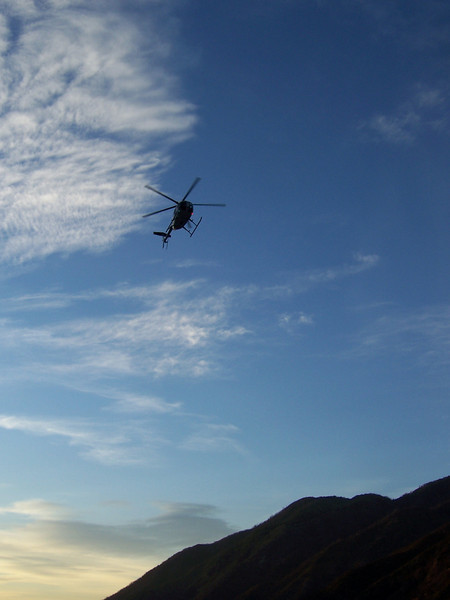 Helicopter arriving at 7AM.