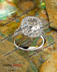 Cushion Diamond Ring On Mother of Pearl Shell Lifestyle