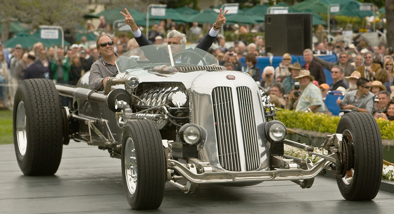 Jay Leno and his tank car driving over the awards podium to show it off.  No awards, but it got more attention than any car at the 2008 Pebble Beach Concours d'Elegance.