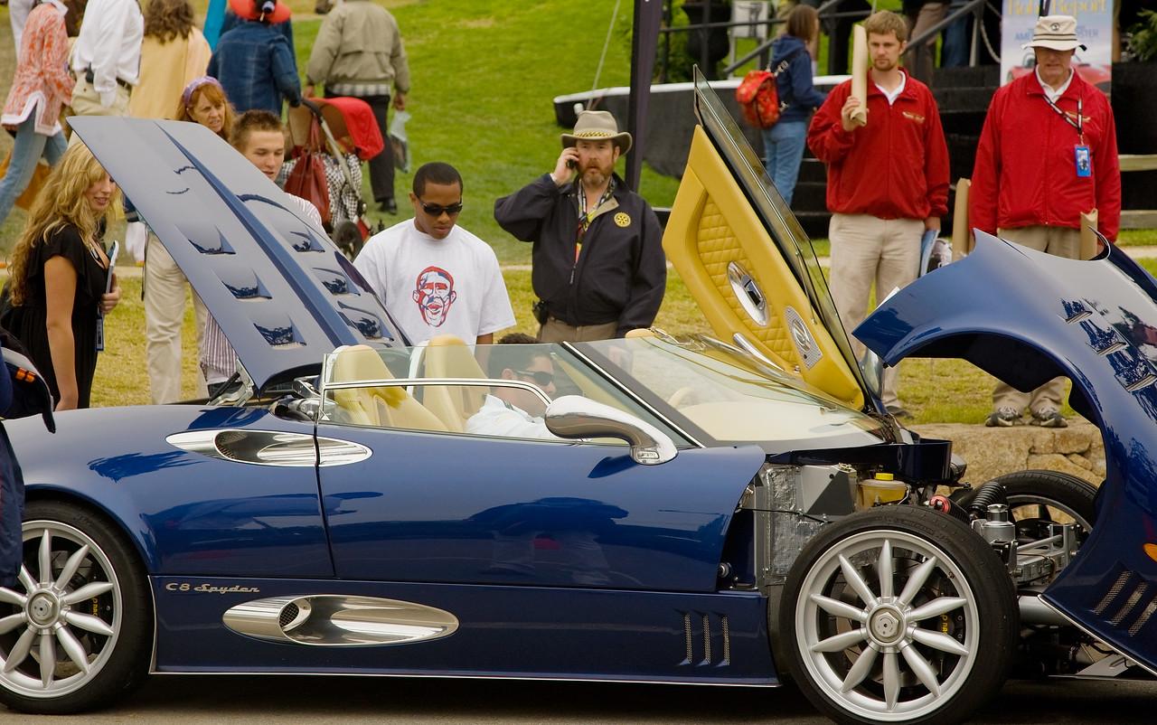 Blue Spyker C8 convertible.