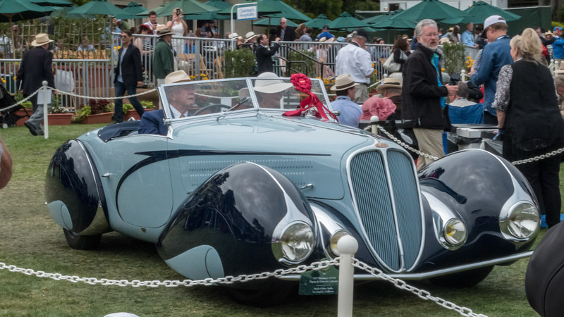 The driver is Peter Mullin, owner of the largest collection of Delahayehs & Delages in the world.