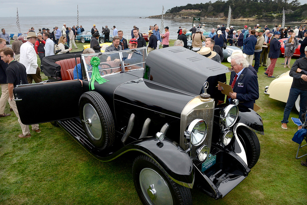 . A 1927 Mercedes-Benz 630K Thomas Harrington Drophead Coupe at the Pebble Beach Golf Links during the Pebble Beach Concours d\'Elegance on Sunday, Aug. 20, 2017.  (Vern Fisher - Monterey Herald)