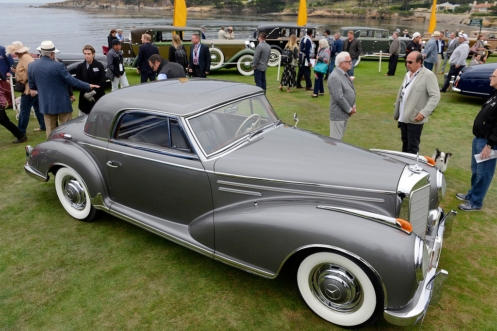 . A silver 1957 Mercedes-Benz 300 SC Coupe at the Pebble Beach Golf Links during the Pebble Beach Concours d\'Elegance on Sunday, Aug. 20, 2017.  (Vern Fisher - Monterey Herald)