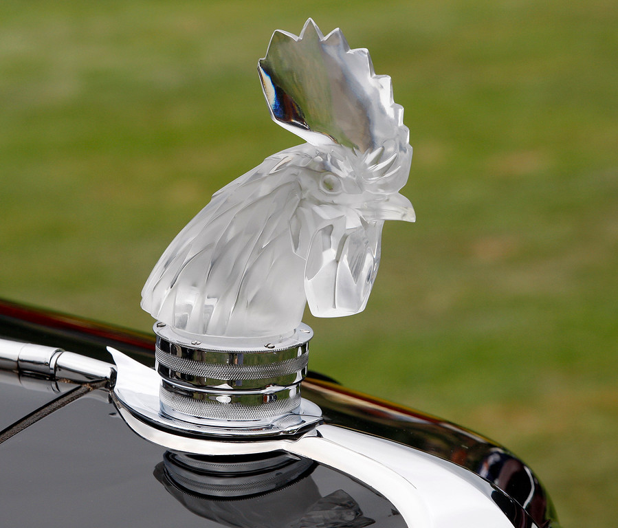 . A crystal hood ornament to a 1933 Chrysler CL Imperial Custom LeBaron Sedan on display at the Pebble Beach Golf Links during the Pebble Beach Concours d\'Elegance on Sunday, Aug. 20, 2017.  (Vern Fisher - Monterey Herald)