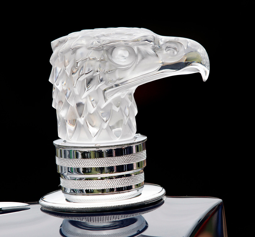 . A crystal hood ornament to a 1934 Packard 1107 Twelve Coupe Roadster on display at the Pebble Beach Golf Links during the Pebble Beach Concours d\'Elegance on Sunday, Aug. 20, 2017.  (Vern Fisher - Monterey Herald)