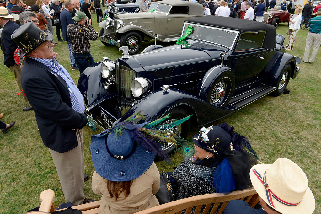 . Jack Boyd Smith (left) from Indiana with his 1934 Packard 1107 Twelve Coupe Roadster at the Pebble Beach Golf Links during the Pebble Beach Concours d\'Elegance on Sunday, Aug. 20, 2017.  (Vern Fisher - Monterey Herald)