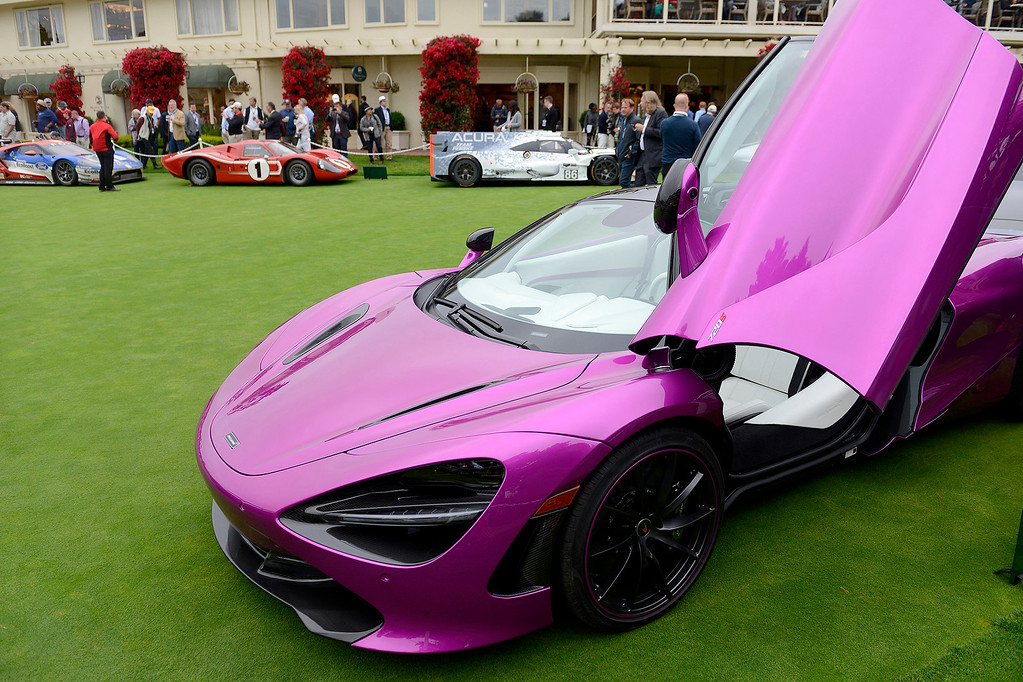 . A bright purple 2018 McLaren 720S caught the attention of many while on display at the practice green of the Pebble Beach Golf Links during the Pebble Beach Concours d\'Elegance on Sunday, Aug. 20, 2017.  (Vern Fisher - Monterey Herald)