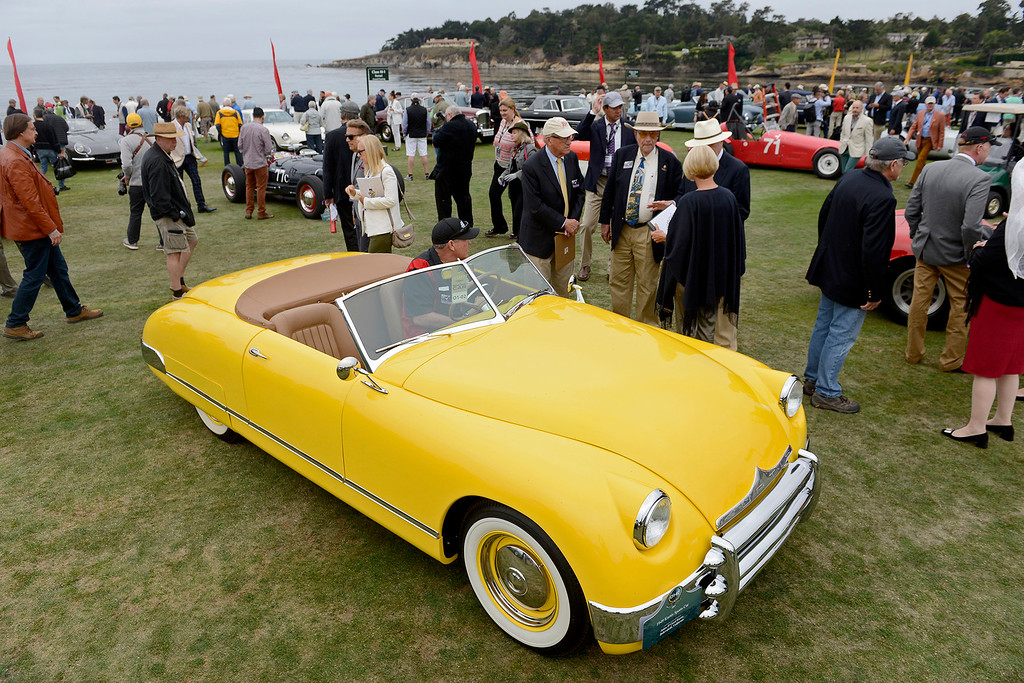 . A 1949 Kurtis Sports Car on display at the Pebble Beach Golf Links during the Pebble Beach Concours d\'Elegance on Sunday, Aug. 20, 2017.  (Vern Fisher - Monterey Herald)