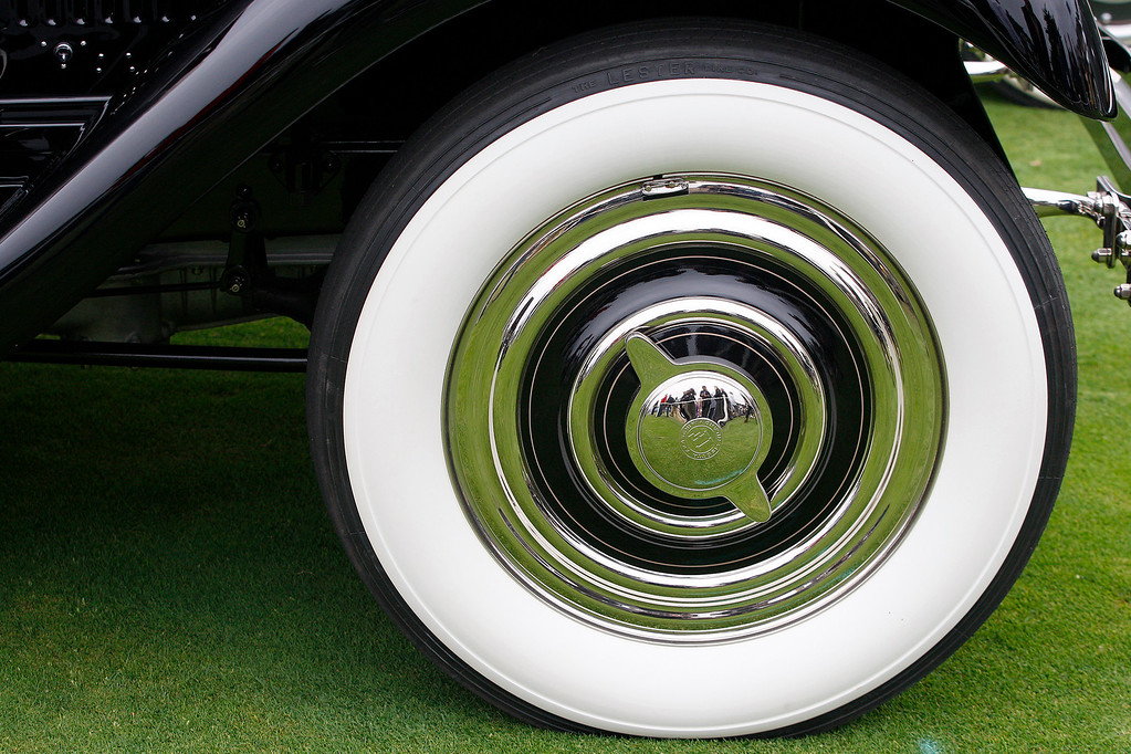 . The front wheel of a 1929 Isotta Fraschini Tipo 8A Castagna Imperial Cabriolet at the Pebble Beach Golf Links during the Pebble Beach Concours d\'Elegance on Sunday, Aug. 20, 2017.  (Vern Fisher - Monterey Herald)