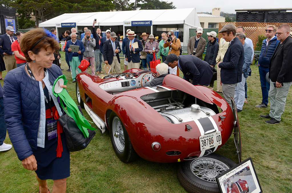 . A 1956 Maserati 300S Fantuzzi Race Car at the Pebble Beach Golf Links during the Pebble Beach Concours d\'Elegance on Sunday, Aug. 20, 2017.  (Vern Fisher - Monterey Herald)