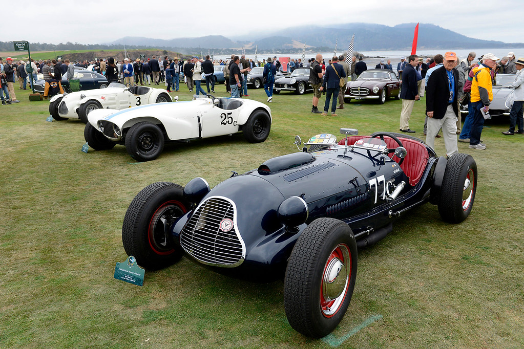 . A 1949 Baldwin Mercury Special owned by Rob Manson of Carmel Valley leads a group of sports racing cars on display at the Pebble Beach Golf Links during the Pebble Beach Concours d\'Elegance on Sunday, Aug. 20, 2017.  (Vern Fisher - Monterey Herald)