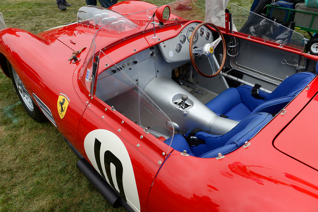 . The sparse interior of a 1960 Ferrari 246 S Dino Fantuzzi Spyder at the Pebble Beach Golf Links during the Pebble Beach Concours d\'Elegance on Sunday, Aug. 20, 2017.  (Vern Fisher - Monterey Herald)