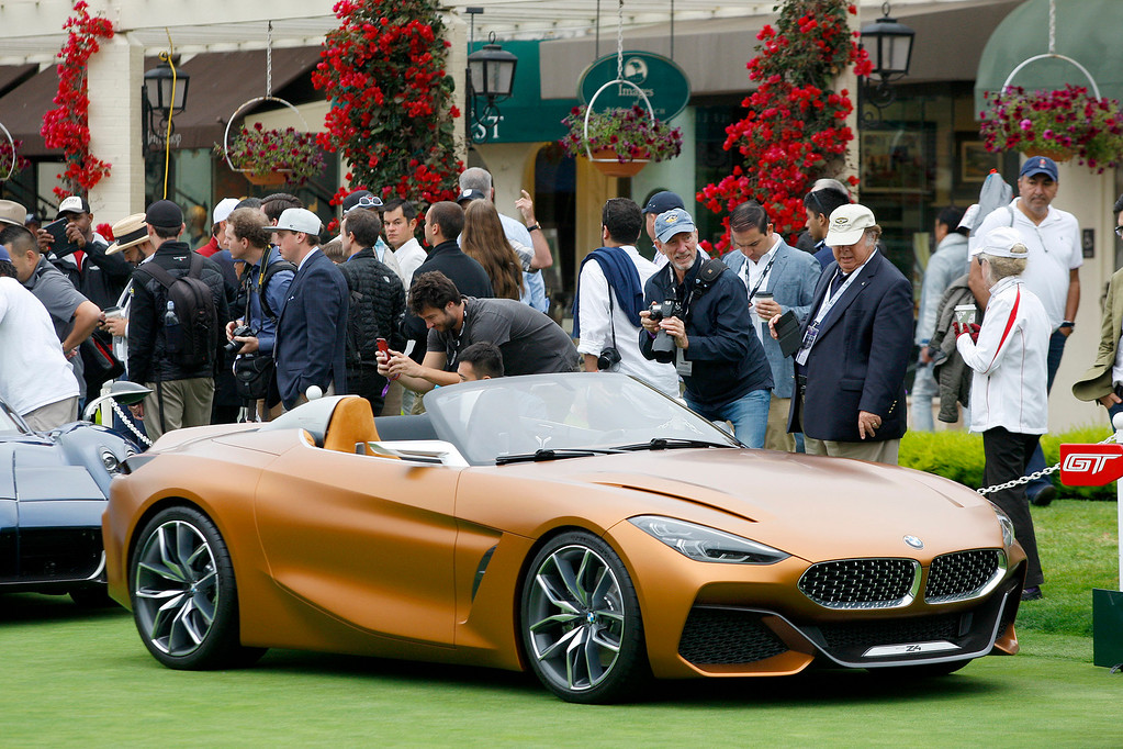 . A BMW Z4 on display on the practice green of the Pebble Beach Golf Links during the Pebble Beach Concours d\'Elegance on Sunday, Aug. 20, 2017.  (Vern Fisher - Monterey Herald)