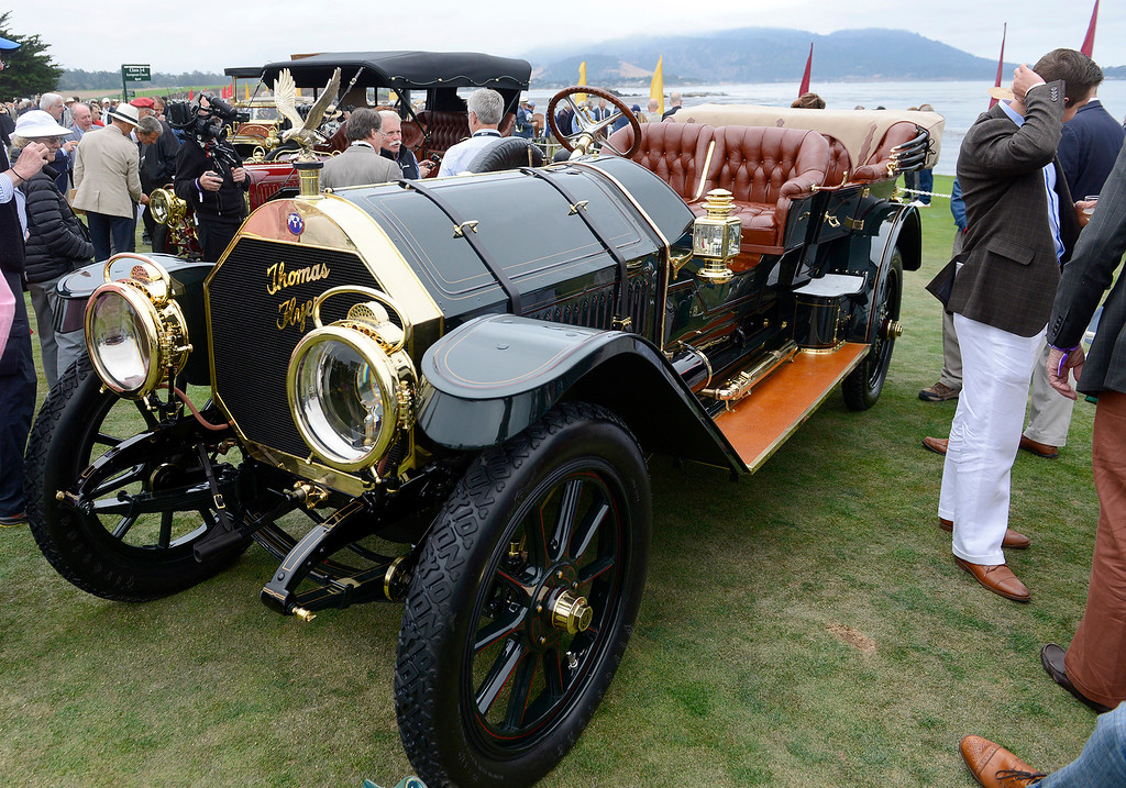 . A 1910 Thomas Flyer Model K 6-70 Flyabout on display at the Pebble Beach Golf Links during the Pebble Beach Concours d\'Elegance on Sunday, Aug. 20, 2017.  (Vern Fisher - Monterey Herald)