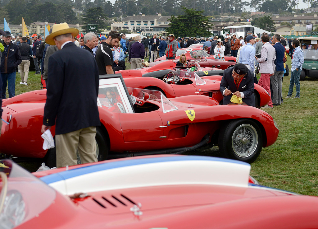 . A line of Ferrari\'s at the Pebble Beach Concours d\'Elegance on Sunday, August 26, 2018.  (Vern Fisher - Monterey Herald)