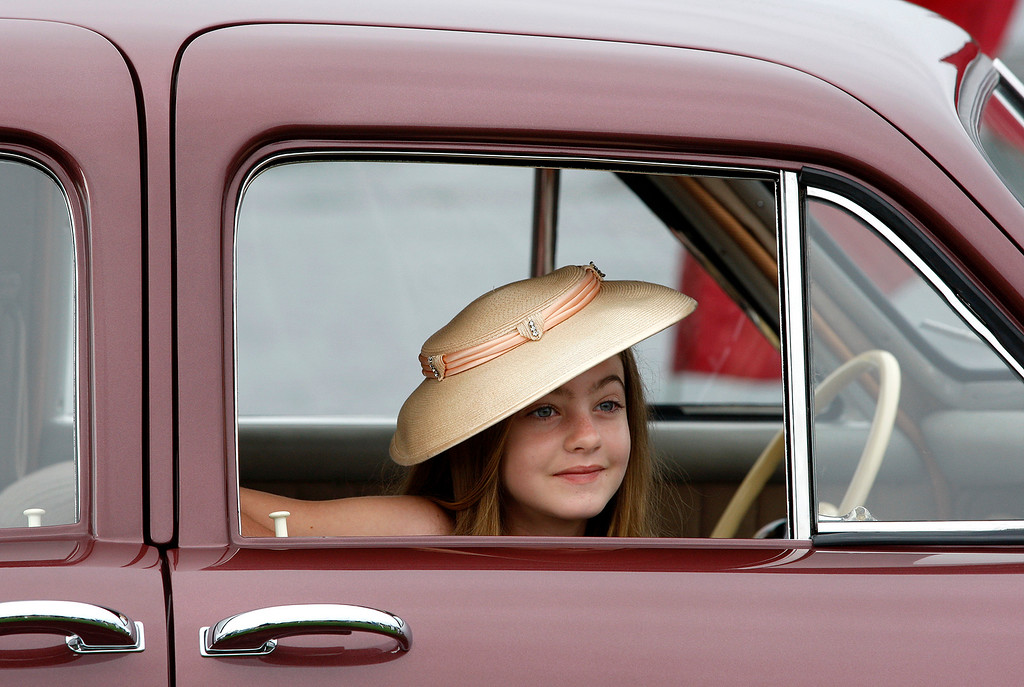. Alessandra Tremulis, 11, from Redwood City, sits in a 1948 Tucker at the Pebble Beach Concours d\'Elegance on Sunday, August 26, 2018.  Tremulis is the great grand niece of Alex Tremulis, the designer of the Tucker.  (Vern Fisher - Monterey Herald)