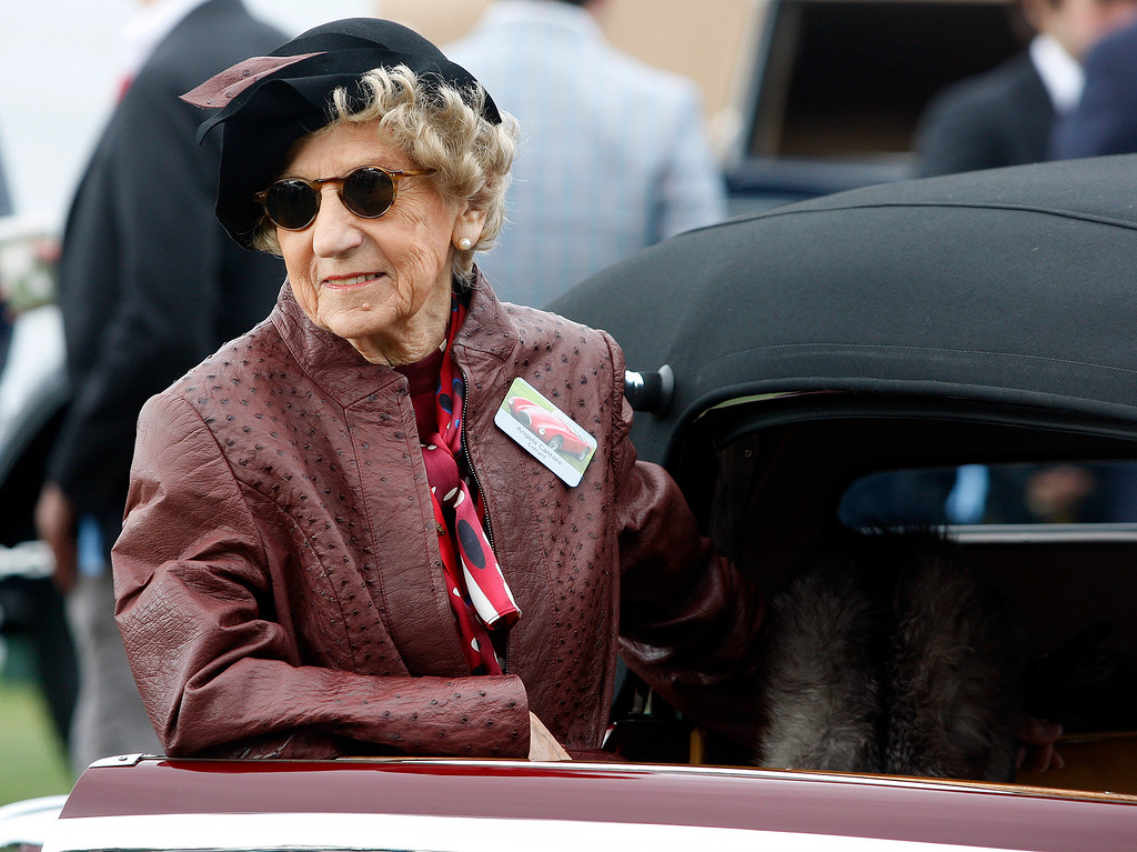 . Angela Cantore shows her 1935 Mercedes-Benz 540K Cabriolet A at the Pebble Beach Concours d\'Elegance on Sunday, August 26, 2018.  (Vern Fisher - Monterey Herald)