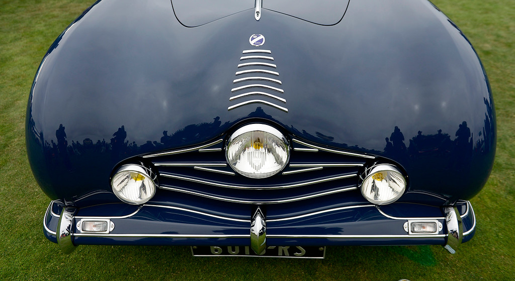 . The bulbus front end of the 1948 Talbot-Lago T26 Grand Sport Figoni Fastback Coupe at the Pebble Beach Concours d\'Elegance on Sunday, August 26, 2018.  (Vern Fisher - Monterey Herald)