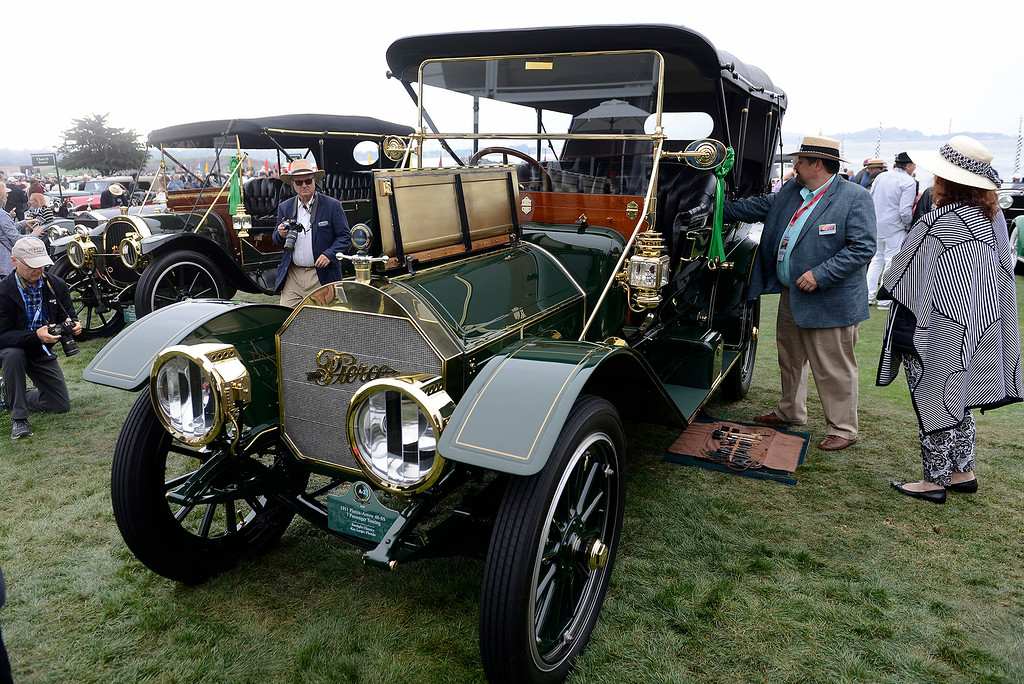 . A 1911 Pierce-Arrow 48-SS 7 Passenger Touring car on display at the Pebble Beach Concours d\'Elegance on Sunday, August 26, 2018.  (Vern Fisher - Monterey Herald)