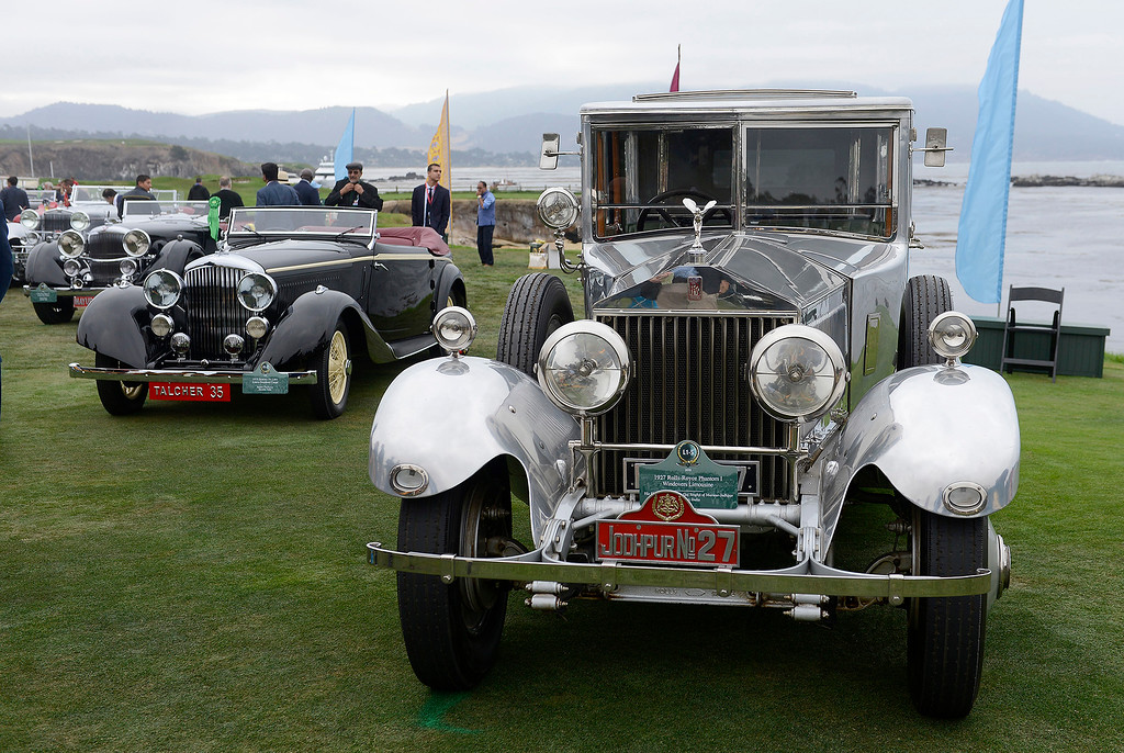 . A 1927 Rolls-Royce Phantom I Windovers Limousine from the collection of his Highness Maharaja Gai Singhji of Marwar-Jodhpur at the Pebble Beach Concours d\'Elegance on Sunday, August 26, 2018.  (Vern Fisher - Monterey Herald)