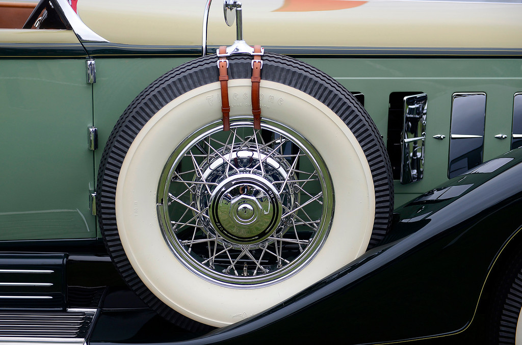 . A spare tire on the 1930 Cadillac 452 Rollston Convertible Coupe at the Pebble Beach Concours d\'Elegance on Sunday, August 26, 2018.  (Vern Fisher - Monterey Herald)