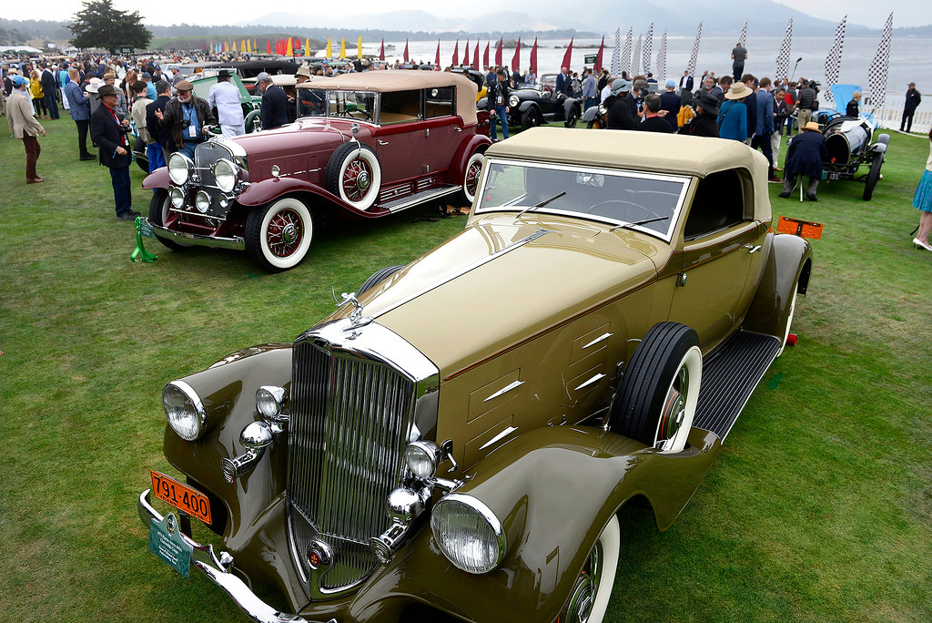 . A 1935 Pierce-Arrow 840A Convertible Coupe on display at the Pebble Beach Concours d\'Elegance on Sunday, August 26, 2018.  (Vern Fisher - Monterey Herald)