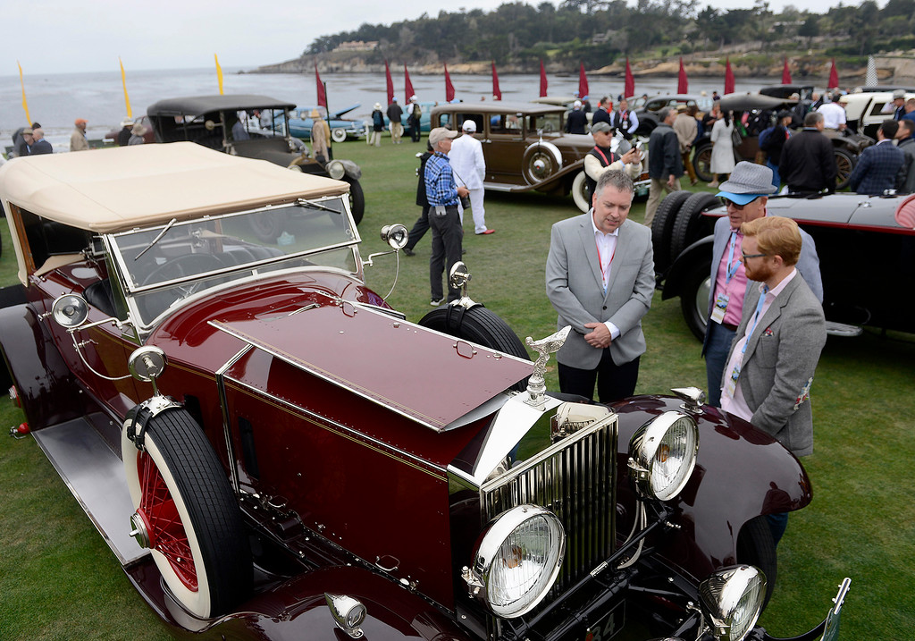 . Irving Jensen III shows his 1928 Rolls-Royce Phantom I Barker Dual Cowl Phaeton at the Pebble Beach Concours d\'Elegance on Sunday, August 26, 2018.  (Vern Fisher - Monterey Herald)