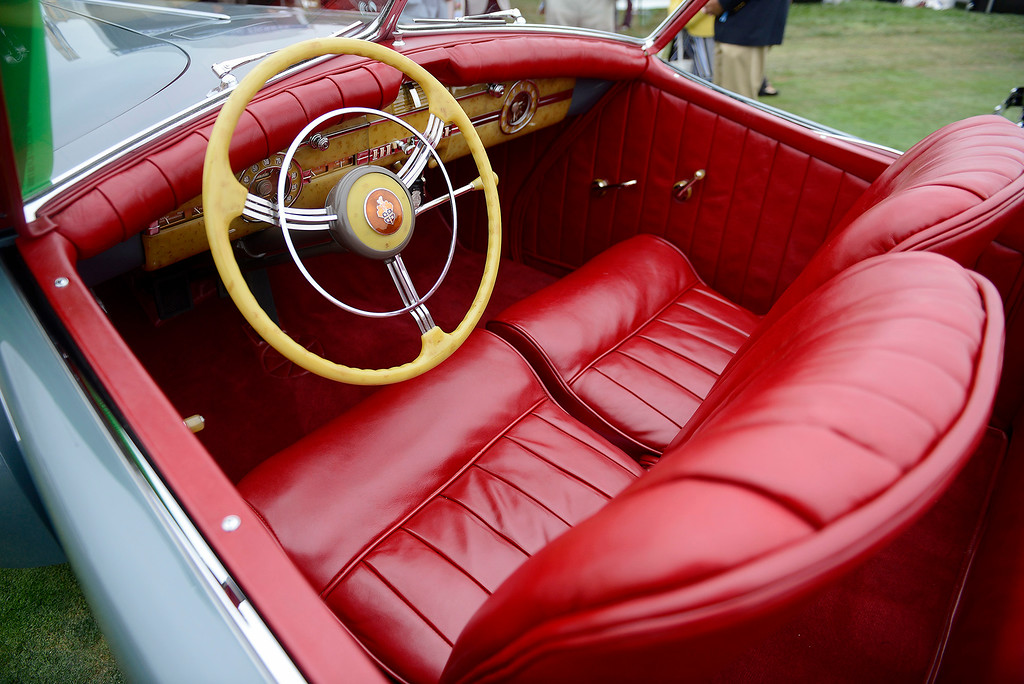 . Bright red leather interior on the 1940 Packard 1806 Custom Super Eight Darrin Convertible Victoria at the Pebble Beach Concours d\'Elegance on Sunday, August 26, 2018.  (Vern Fisher - Monterey Herald)
