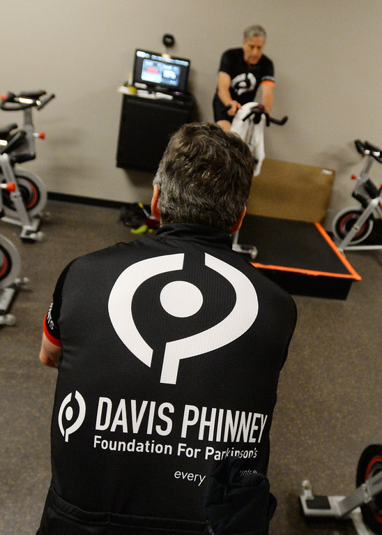 . BOULDER, CO - SEPTEMBER 12: Former Olympic and professional cyclist, Davis Phinney, rides during the Pedaling for Parkinson�s Workout of the week.  (Photo by Cliff Grassmick/Staff Photographer)