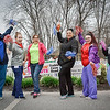 From left, Leah Pinsky of Acton, Ariana Maffeo of Billerica, April Randlett Ducheneau of Nashua, Julissa Rodrigues of Lowell, Caroline Bernard of Haverhill and Alex Whalen of Billerica cheer on the runners during the Pediatric Care 5k. SUN/Caley McGuane