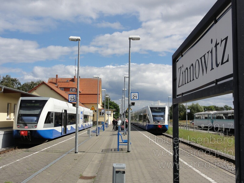 "In Zinnowitz you switch to the train on the left connecting directly to the Peenemünde Historical Technical Museum. The local UBB railway is integrated into the Deutsche Bahn schedule system: <a href=""http://bahn.de"">http://bahn.de</a>"