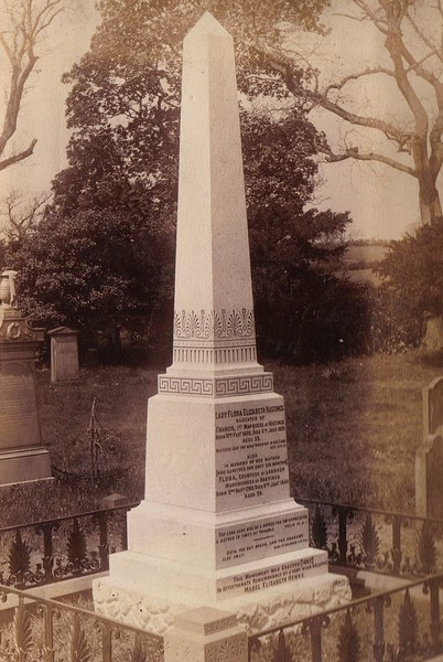 The monument at Loudoun Kirk graveyard to Lady Flora Hastings (daughter of Lord Rawdon) and her mother Flora, the 6th Countess of Loudoun (Rawdon's wife). The bodies are in the family tomb within  the old church building. Rawdon's right hand is clasped with hers in death.
