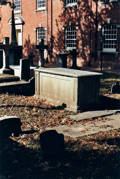 """Benjamin Chew's grave is the """"box tomb"""" in the center of the photograph. Box tombs were a popular monument form in early America, but were """"tombs"""" in name only – the remains were buried beneath ground."""