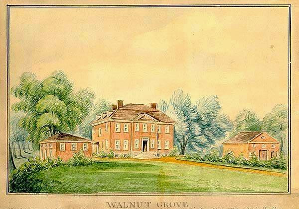 Old postcard view of Walnut Grove. The house was torn down in 1862 in order to construct a school.