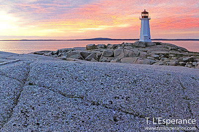 Peggy's Cove Sunset Wide view with Pink Sky