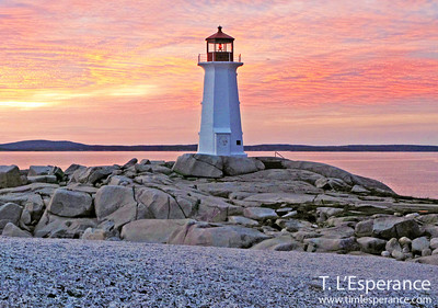 Pink Sky at night Peggy's Cove Sunset