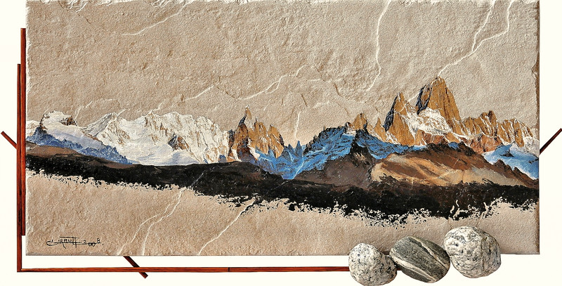 """2008 - First appearance of Mount Fitz Roy (painted on tiling """"grès céram"""")"""